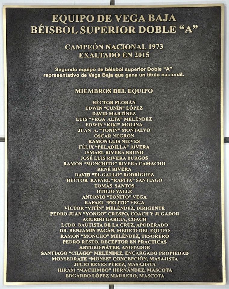 tarja de exaltacion Equipo AA de 1973 en 2015