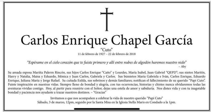 Obituario de Cuto Chapel
