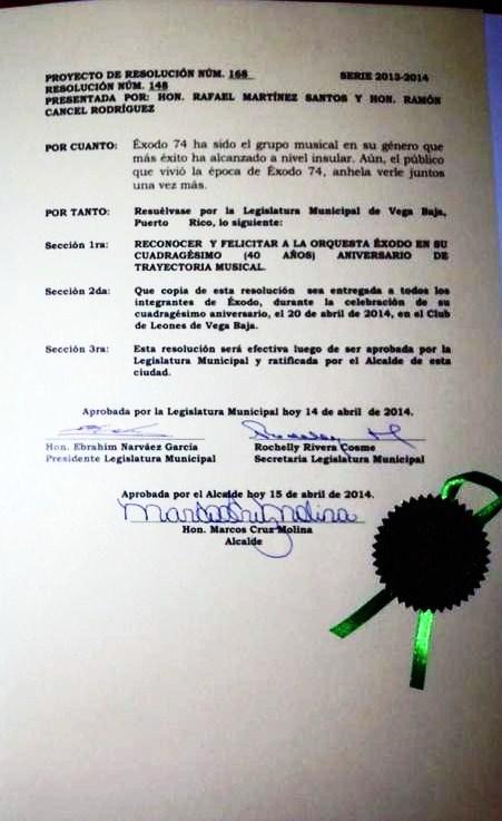 Resolucion de la Legislatura Municipal y el alcalde reconociendo a Exodo 74 2