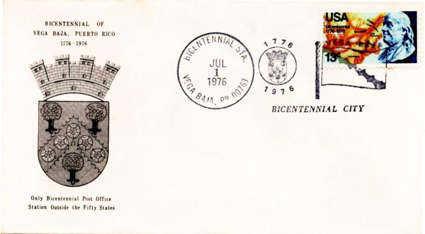 US fIRST COVER BICENTENARIO Vega Baja 1776-1976 001
