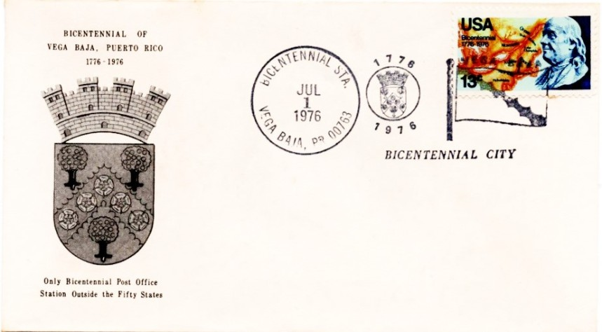 US fIRST COVER BICENTENARIO Vega Baja 1776-1976 001